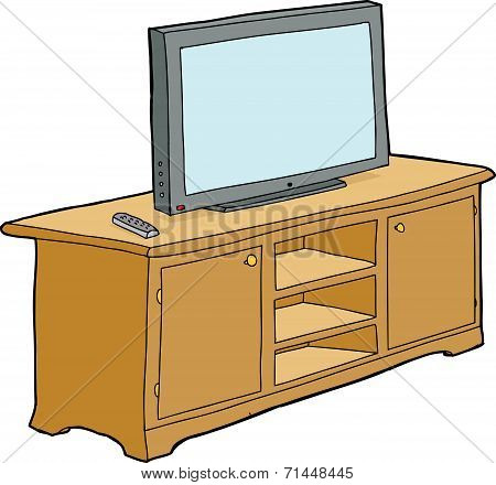 Isolated Television On Cabinet