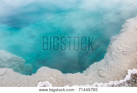 Deep Aqua Color Hot Spring In Yellowstone Park