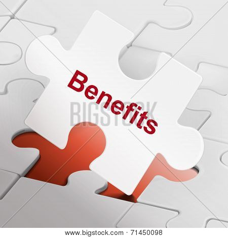 Benefits Word On White Puzzle Pieces