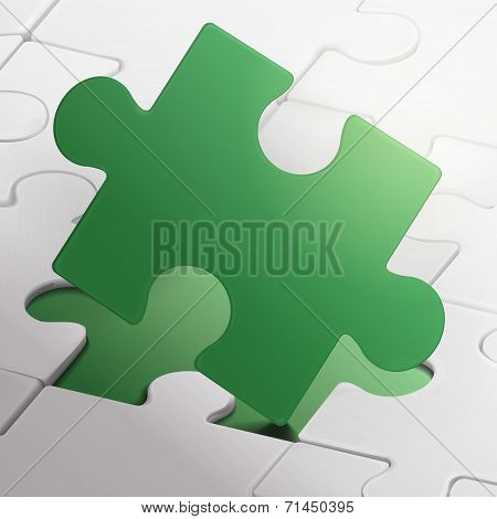 Blank Green Puzzle Piece Isolated On White Puzzles