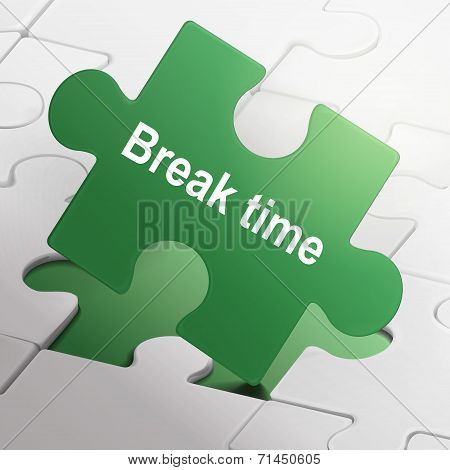 Break Time On Green Puzzle Pieces