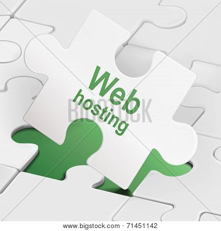 Web Hosting On White Puzzle Pieces