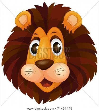 Illustration of a head of a lion on a white background