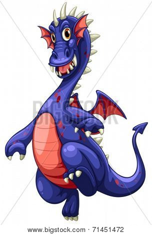 Illustration of a blue dragon