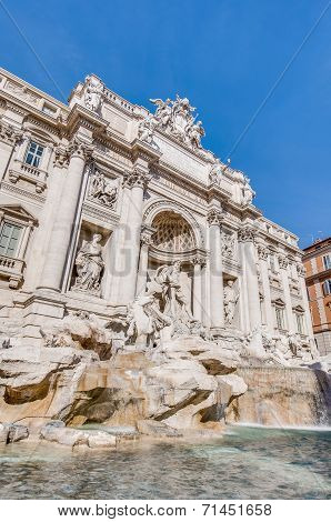 Trevi Fountain, The Baroque Fountain In Rome, Italy.