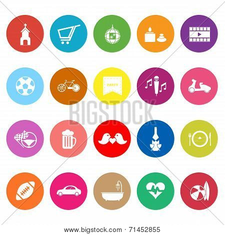Friday And Weekend Flat Icons On White Background