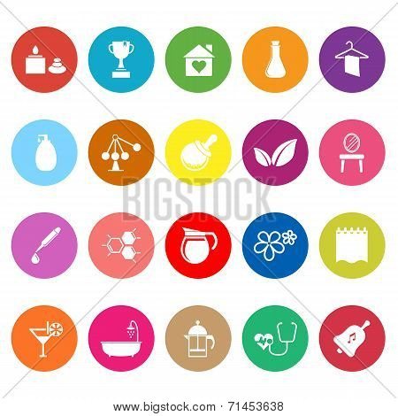 Spa Treatment Flat Icons On White Background