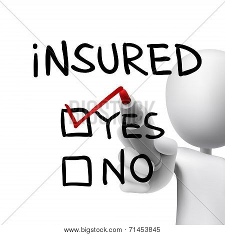 Yes Insured Words Written By 3D Man