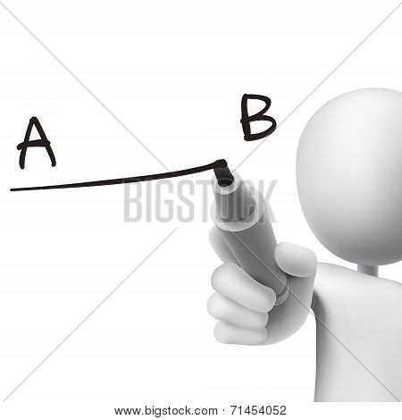 Line From A To B Drawn By 3D Man