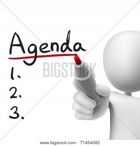 Agenda Word Written By 3D Man