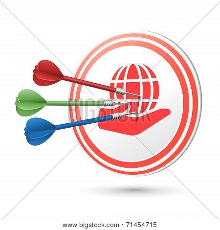 Web Concept Target With Darts Hitting On It