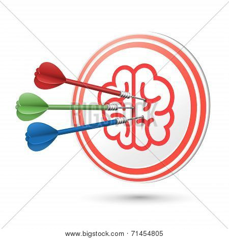 Brain Icon Target With Darts Hitting On It