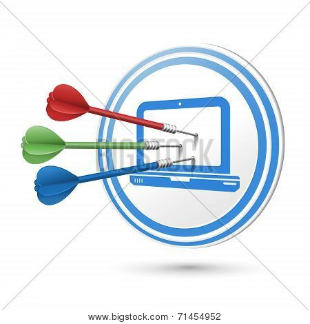Computer Icon Target With Darts Hitting On It