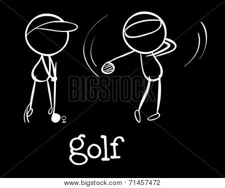 Illustration of the golf players on a black background
