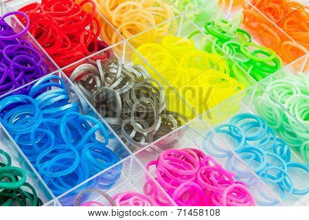 Colorful Of Elastic Loom Bands.
