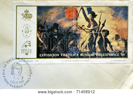 ARGENTINA - CIRCA 1989: A stamp printed in Argentina shows the Liberty Leading the People