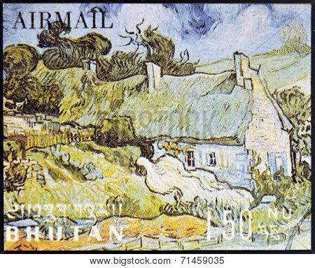 BHUTAN - CIRCA 1980: A stamp printed in Bhutan shows Grasgrond by Vincent Van Gogh circa 1980