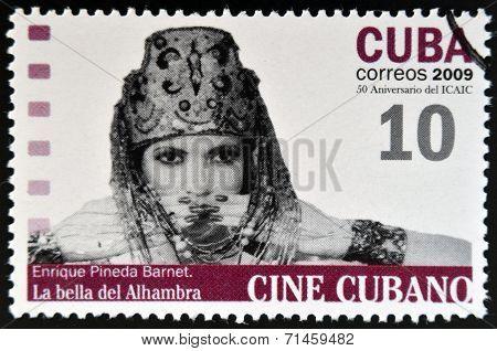 CUBA - CIRCA 2009: A stamp printed in Cuba dedicated to Cuban cinema shows La bella del Alhambra