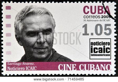 CUBA - CIRCA 2009: A stamp printed in Cuba dedicated to Cuban cinema shows Santiago Alvarez