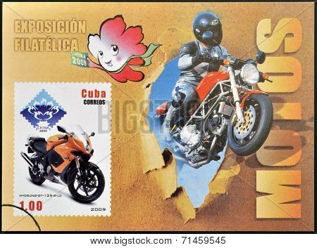 CUBA - CIRCA 2009: A stamp printed in Cuba dedicated to the motorbikes shows Hyosung Gt 125