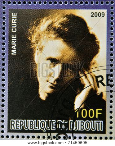 DJIBOUTI - CIRCA 2009: stamp dedicated to French Nobel chemistry prize shows Marie Curie circa 2009