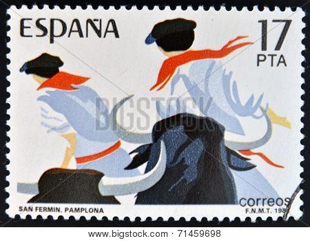 SPAIN - CIRCA 1984: stamp printed in Spain shows Sanfermines in Pamplona circa 1984
