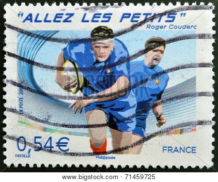 FRANCE - CIRCA 2007: A stamp printed in France dedicated to Rugby World Cup circa 2007