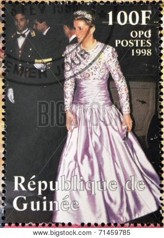 REPUBLIC OF GUINEA - CIRCA 1998: A stamp printed in Republic of Guinea shows Princess Diana of Wales