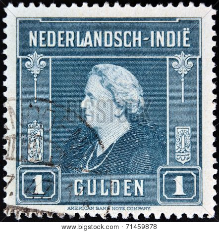 A stamp printed in the Netherlands Indies shows image of Queen Wilhelmina