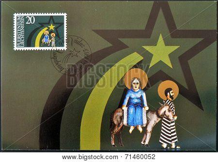 LIECHTENSTEIN - CIRCA 1983: A stamp printed in Liechtenstein shows seeking shelter christmas