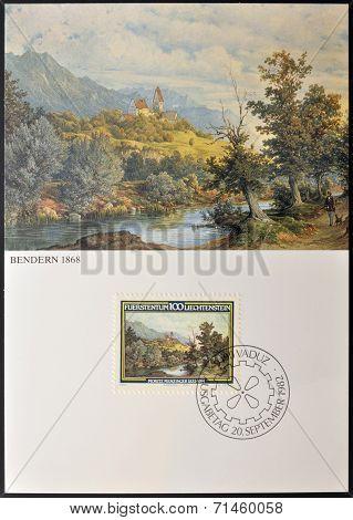 Stamp printed in Liechtenstein dedicated to the birth of Moritz Menzinger shows Bendern 1868