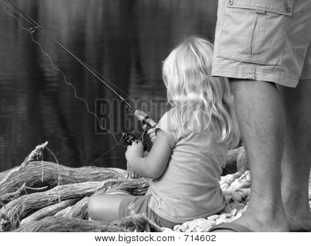 Dads Lil Girl Fishing Bw