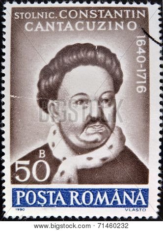 ROMANIA - CIRCA 1990: A stamp printed in Romania shows portrait of Constantin Cantacuzino