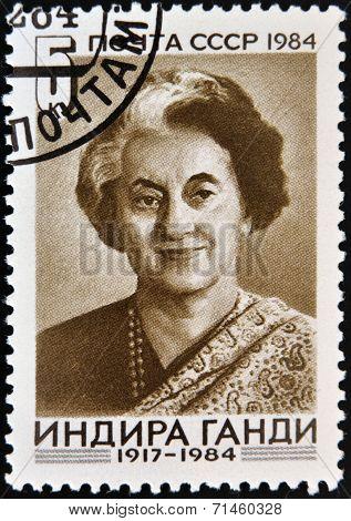 USSR - CIRCA 1984 : A stamp printed in USSR shows Indira Gandhi Indian Prime Minister circa 1984