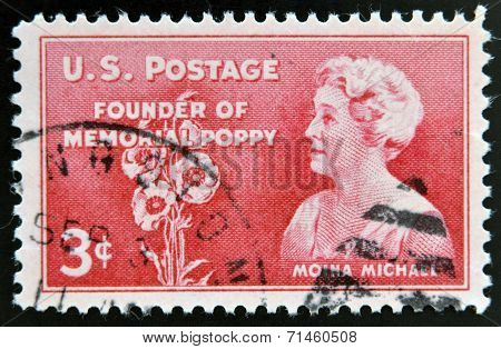 UNITED STATES OF AMERICA - CIRCA 1948: A stamp printed in USA showing Moina Michael
