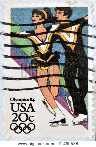 UNITED STATES OF AMERICA - CIRCA 1984: A stamp printed in USA shows Figure Skating