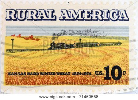 UNITED STATES OF AMERICA - CIRCA 1974: A Stamp printed in USA shows the Wheat Fields