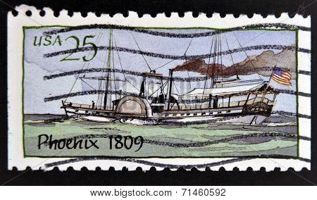 UNITED STATES OF AMERICA - CIRCA 1989: A stamp printed in USA shows Ship Phoenix (1809) Steamboats