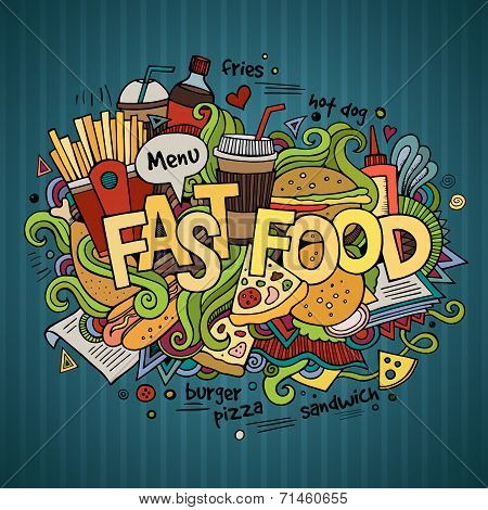 Fast food hand lettering and doodles elements background