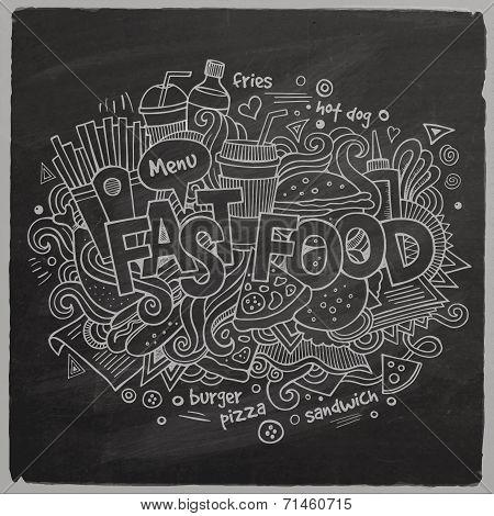 Fast food hand lettering and doodles elements chalkboard back