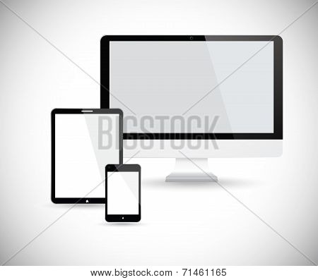 Electronic devices with white screen.