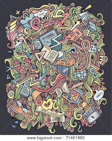 doodles hand drawn school background