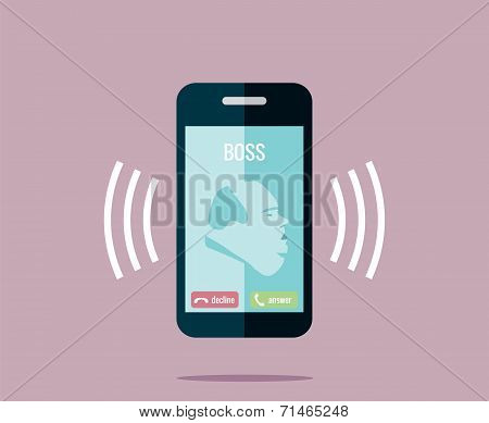 Boss is calling on the phone - vector drawing of a ringing mobile phone with a fat boss.