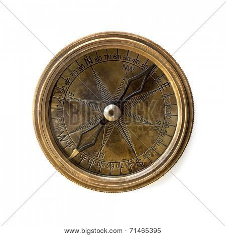 Compass isolated on white.  Tarnished brass.