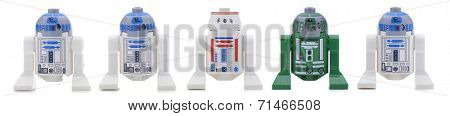 Ankara, Turkey - May 28, 2013: Lego Star Wars minifigure Sandtrooper walking in front of sandtroopers and stormtroopers isolated on white background.