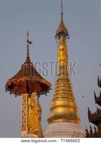 The Swedagon Pagoda At Dusk