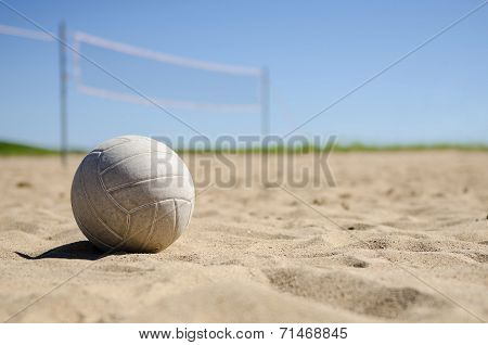 Beach volleyball in the sand