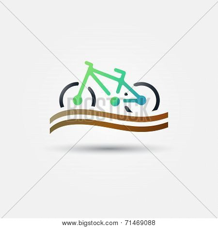 Bicycle tourism vector icon - bright bike green symbol