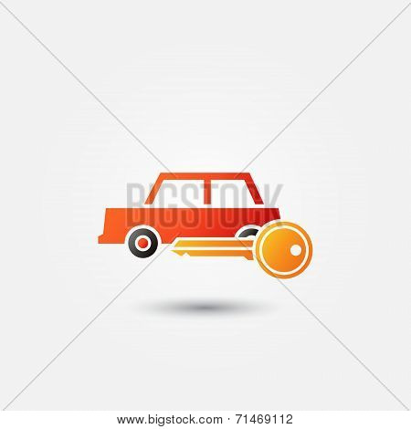 Bright red car rental icon