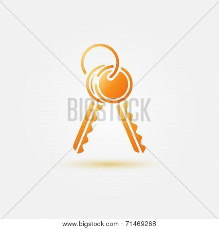 Yellow vector keys icon